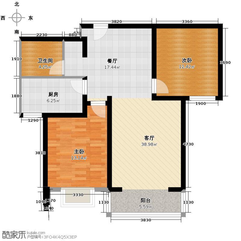 中和山水兴城102.00㎡A2/A3户型2室1厅1卫1厨