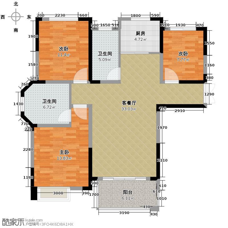 御景城120.00㎡高层户型3室2厅2卫