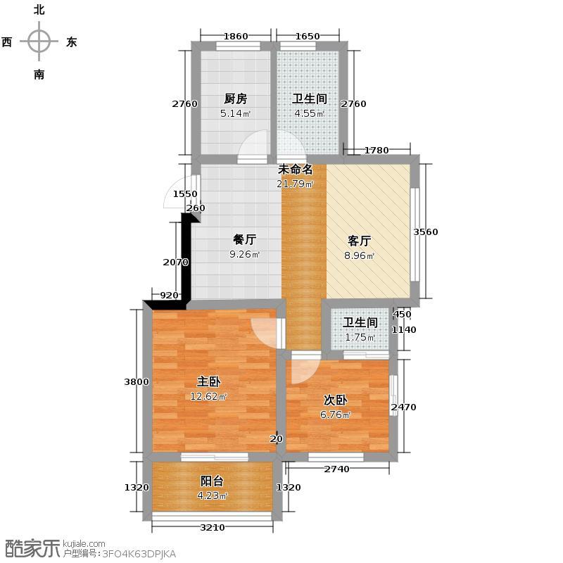 景洲公寓66.42㎡户型2室2卫1厨