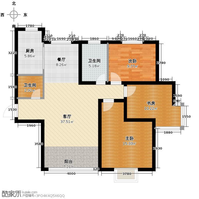 中和山水兴城123.00㎡E1户型3室1厅2卫1厨