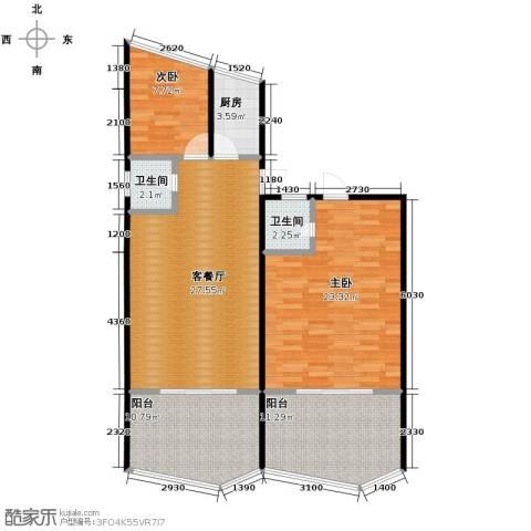 东润艺术阁2室1厅2卫1厨97.45㎡户型图