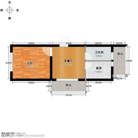 东皇先锋1室1厅1卫1厨60.00㎡户型图