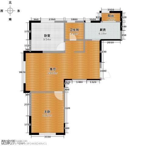 众诚一品东南1室1厅1卫1厨88.00㎡户型图