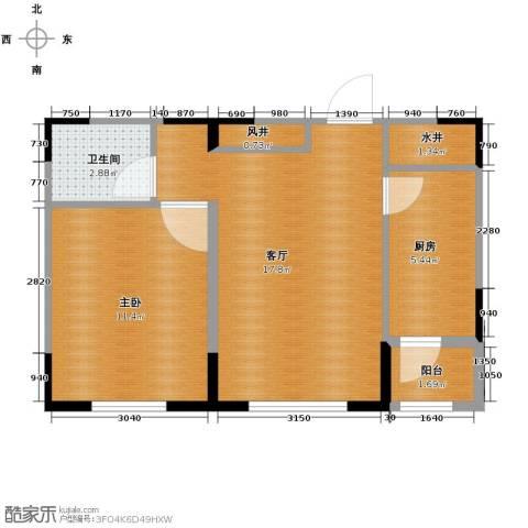 众诚一品东南1室1厅1卫1厨53.00㎡户型图