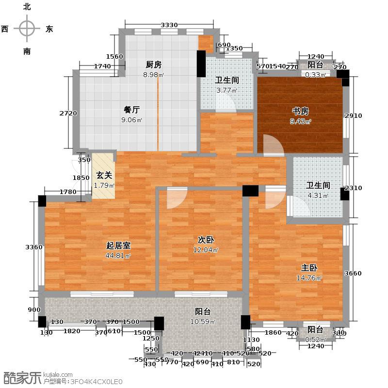 戈雅公寓114.19㎡户型3室2卫