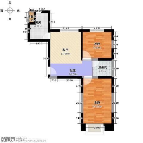 良品柏宏爱琴湾2室2厅1卫0厨74.00㎡户型图