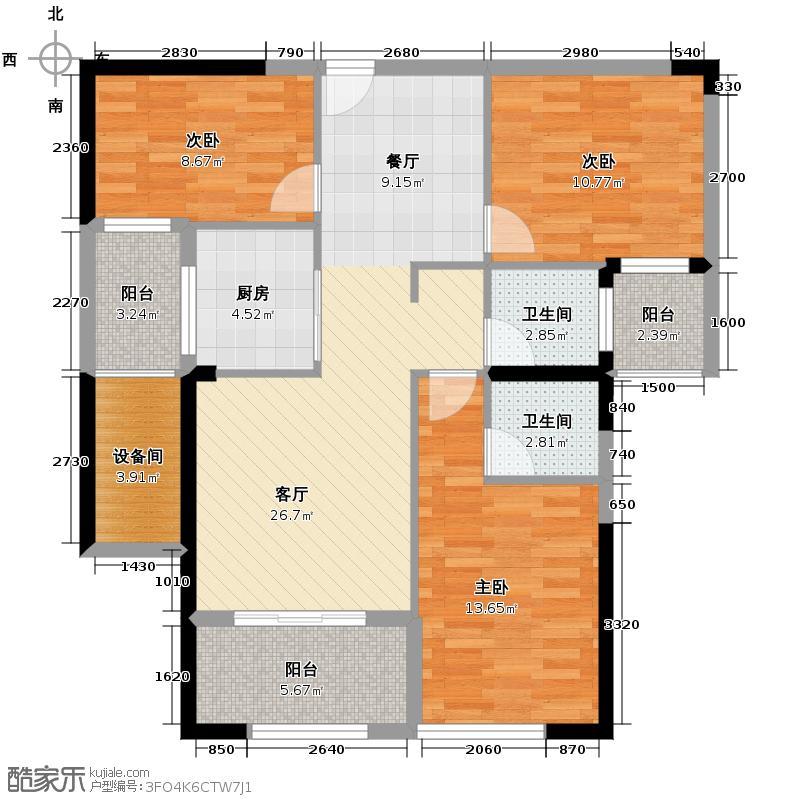 恒宇国际公园95.80㎡9#楼5-24层产权户型3室2厅2卫