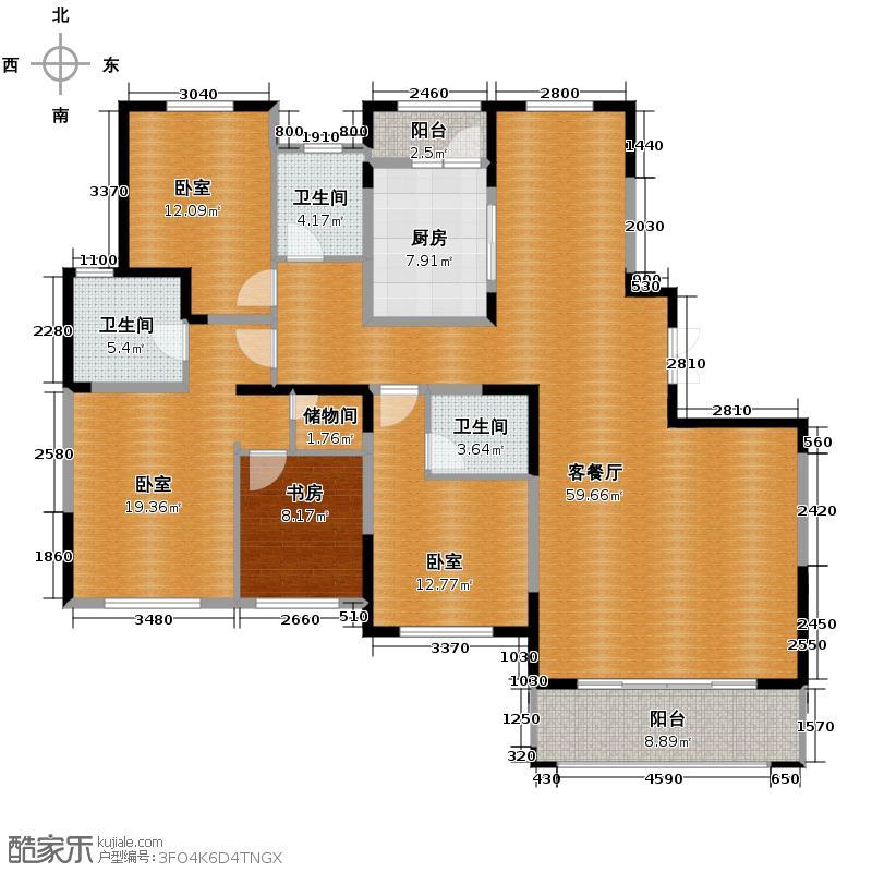 淮矿东方蓝海193.00㎡H户型4室2厅3卫