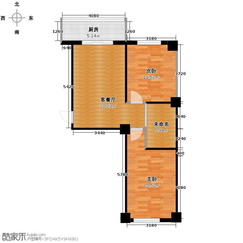 东方之珠龙腾苑78.78㎡-户型2室1厅1卫