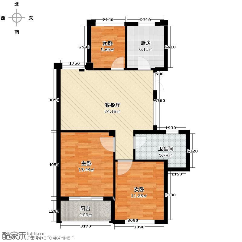 曙光之城89.00㎡滨江J2户型3室1厅1卫1厨