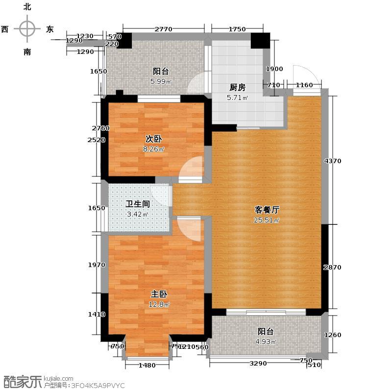 青城1号81.00㎡4#楼奇数层B2/偶数层B4户型2室1厅1卫1厨