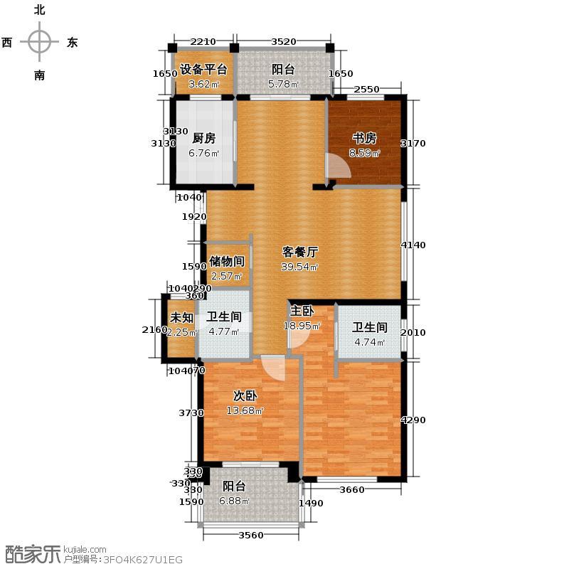 曙光之城139.00㎡滨江A2奇数层户型3室1厅2卫1厨