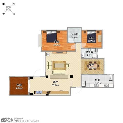 银亿阳光城3室1厅2卫1厨153.00㎡户型图