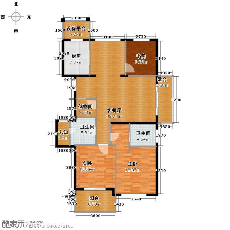 曙光之城139.00㎡滨江A3偶数层户型3室1厅2卫1厨