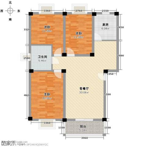 国芳世贸花园3室1厅1卫1厨116.00㎡户型图