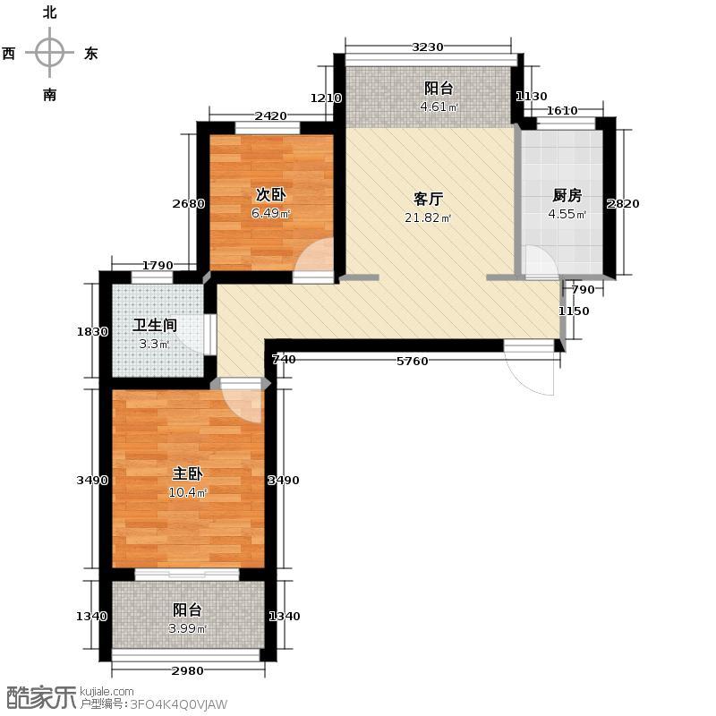 兴隆滨河苑83.90㎡G1户型2室1厅1卫1厨