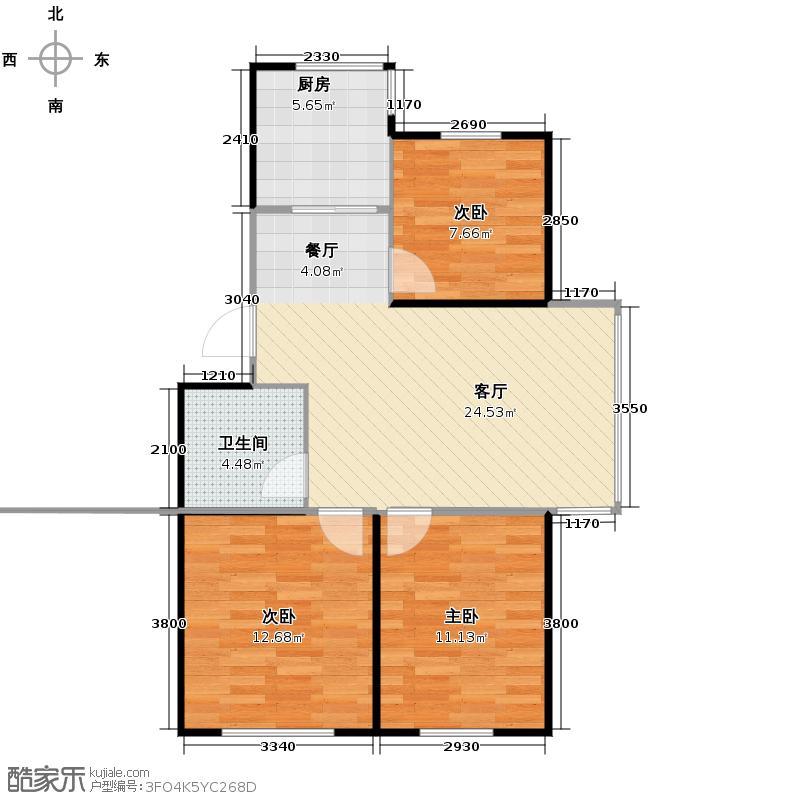 博众新城二期89.00㎡b户型3室1厅1卫1厨