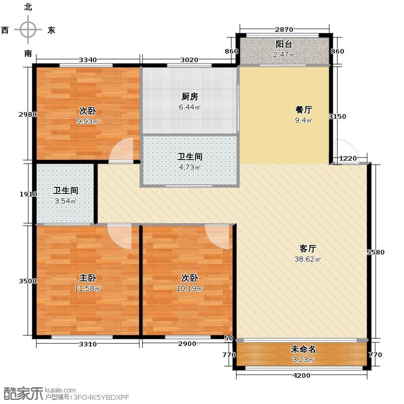 博众新城二期133.00㎡6户型3室1厅2卫1厨