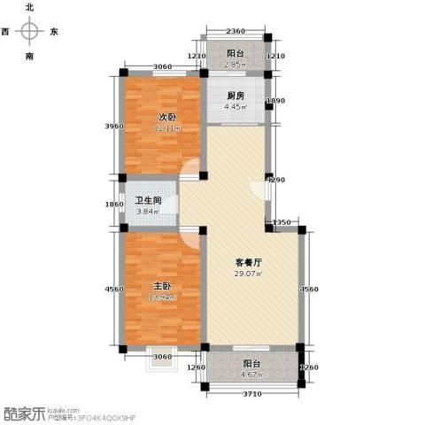 国芳世贸花园2室1厅1卫1厨95.00㎡户型图