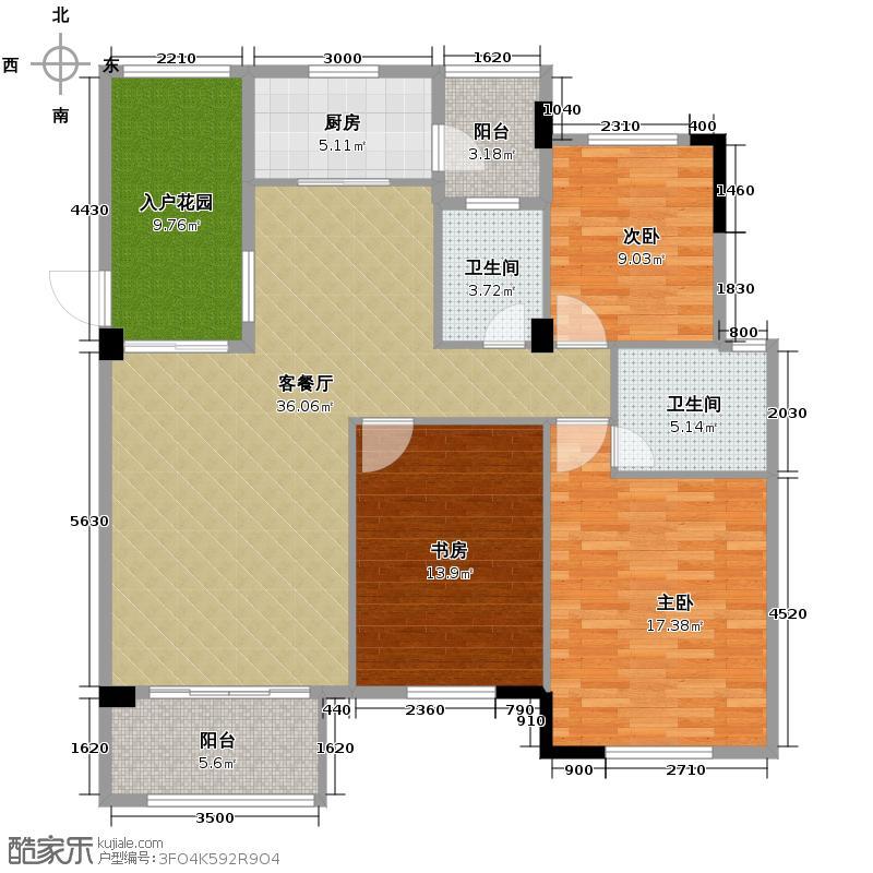 鹏基诺亚山林三期123.40㎡A1-2户型3室1厅2卫1厨