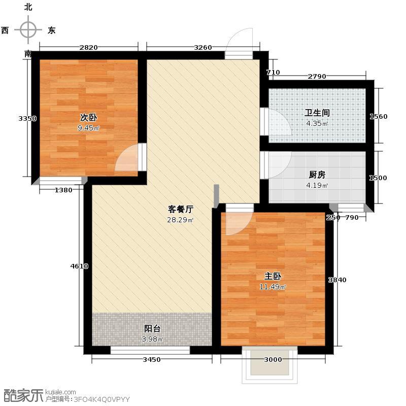 兴隆滨河苑88.86㎡F2户型2室1厅1卫1厨