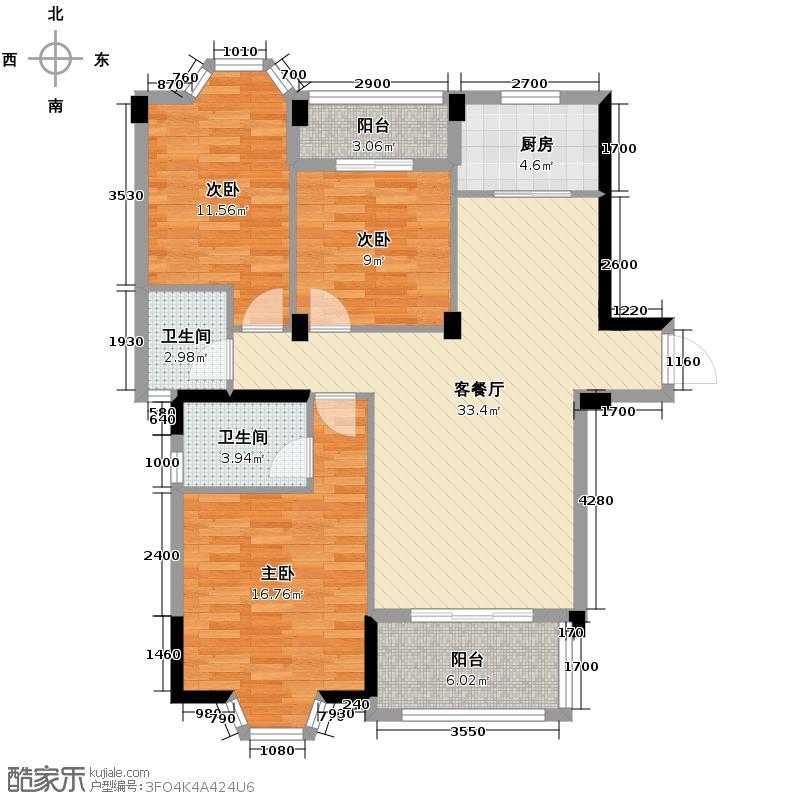 汇锦城107.00㎡东方名城户型3室1厅2卫1厨