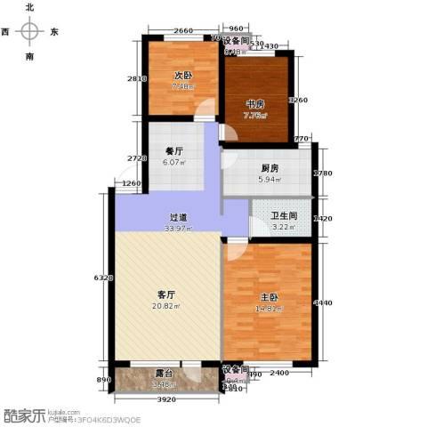 耶鲁印象3室2厅1卫0厨95.00㎡户型图