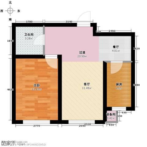 耶鲁印象1室1厅1卫0厨58.00㎡户型图