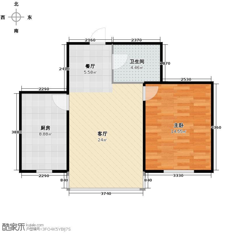博众新城二期60.00㎡A户型1室1厅1卫1厨