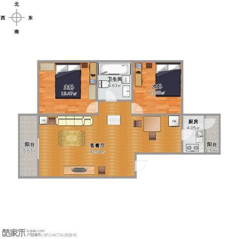 新世纪花苑三期2室1厅1卫1厨119.00㎡户型图