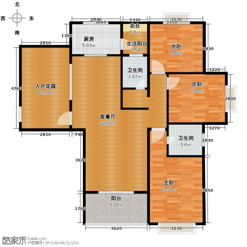 元森北新时代152.48㎡户型3室1厅2卫1厨