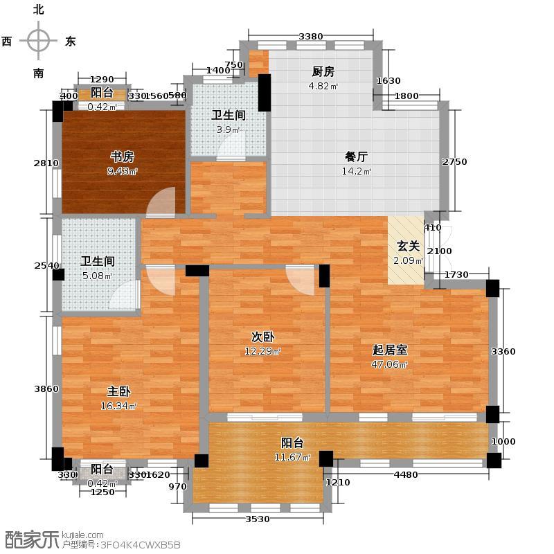 戈雅公寓120.16㎡户型3室2卫