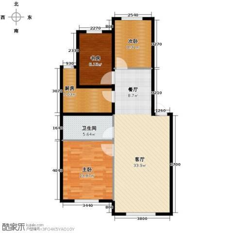 东方之珠龙翔苑3室2厅1卫0厨90.00㎡户型图