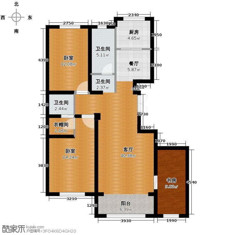 中意之尊123.04㎡E户型2室2厅2卫