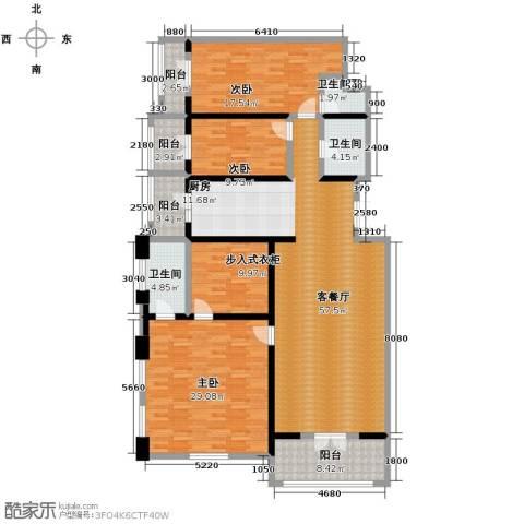 美域江岛3室2厅1卫0厨152.16㎡户型图