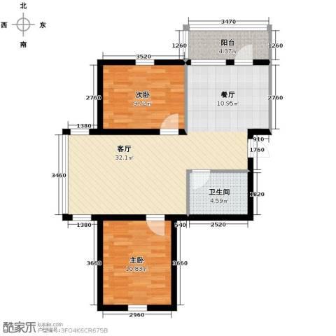 绿色新城二期嘉苑2室1厅1卫0厨84.00㎡户型图