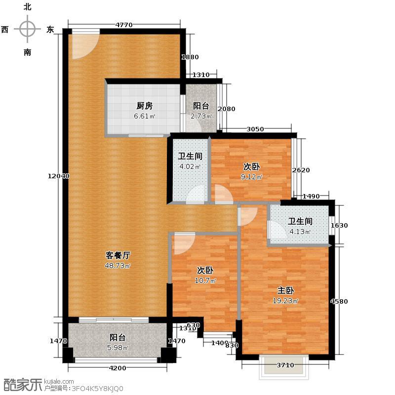 富星半岛124.00㎡25座02/03单元户型3室2厅2卫