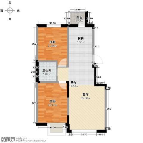 西湖一号2室2厅1卫0厨90.00㎡户型图