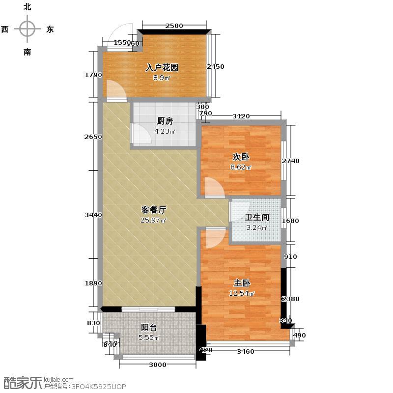 筑梦佳园78.00㎡7-8栋04-08号户型2室1厅1卫1厨