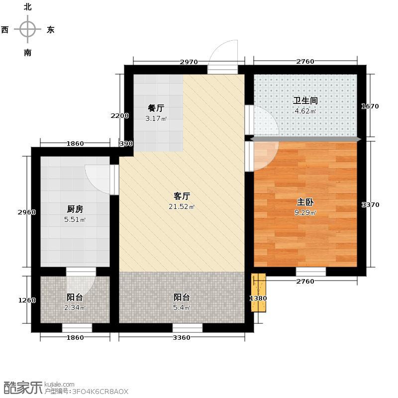 宇光万和城62.48㎡17号楼户型1室1厅1卫