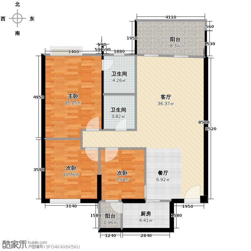 龙锦文苑117.30㎡一期2号楼2单元C4户型3室1厅2卫1厨