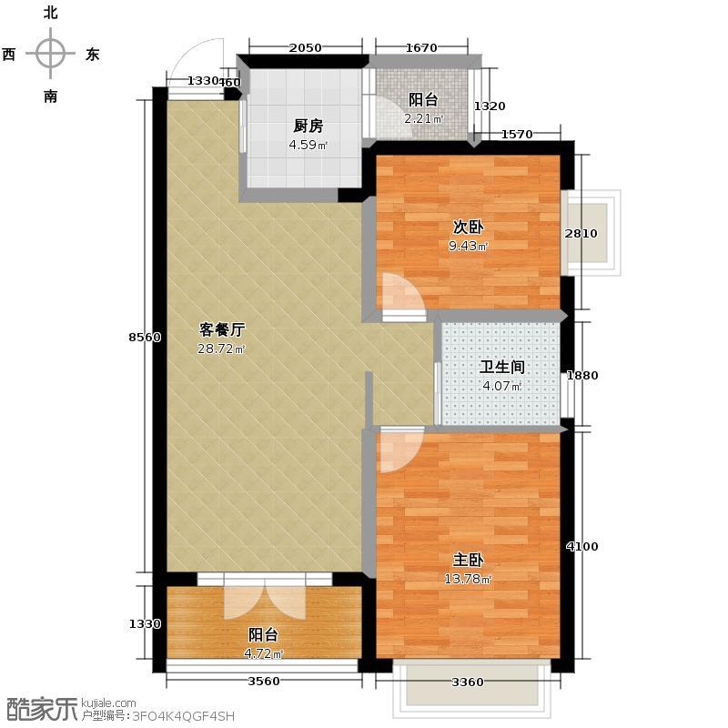 海棠湾85.15㎡一期B6户型2室1厅1卫1厨
