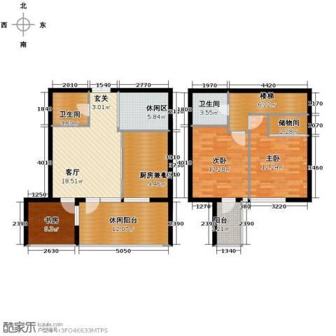 嘉联华铭座公寓3室1厅2卫0厨130.00㎡户型图