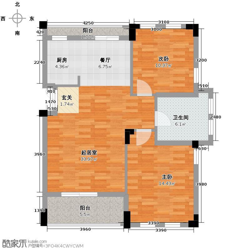 戈雅公寓81.57㎡户型2室1卫