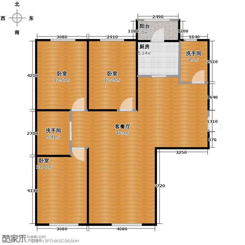 嘉惠红山郡114.97㎡E户型3室2厅2卫