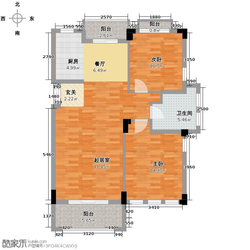 戈雅公寓91.23㎡户型2室1卫