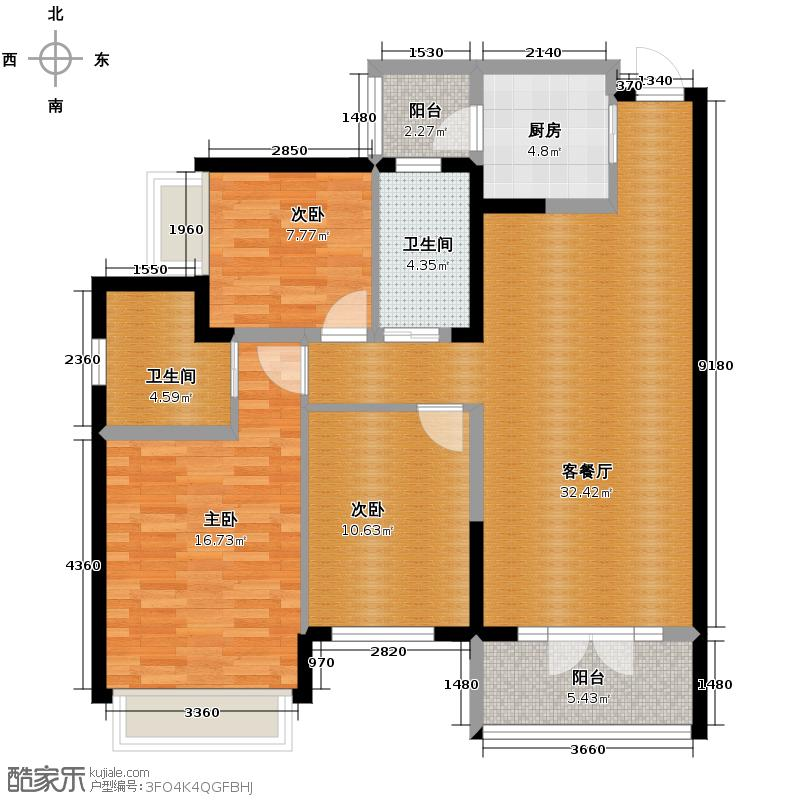 海棠湾113.85㎡一期F1户型3室1厅2卫1厨
