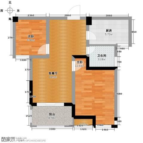 滨湖香江龙韵2室2厅1卫0厨72.00㎡户型图