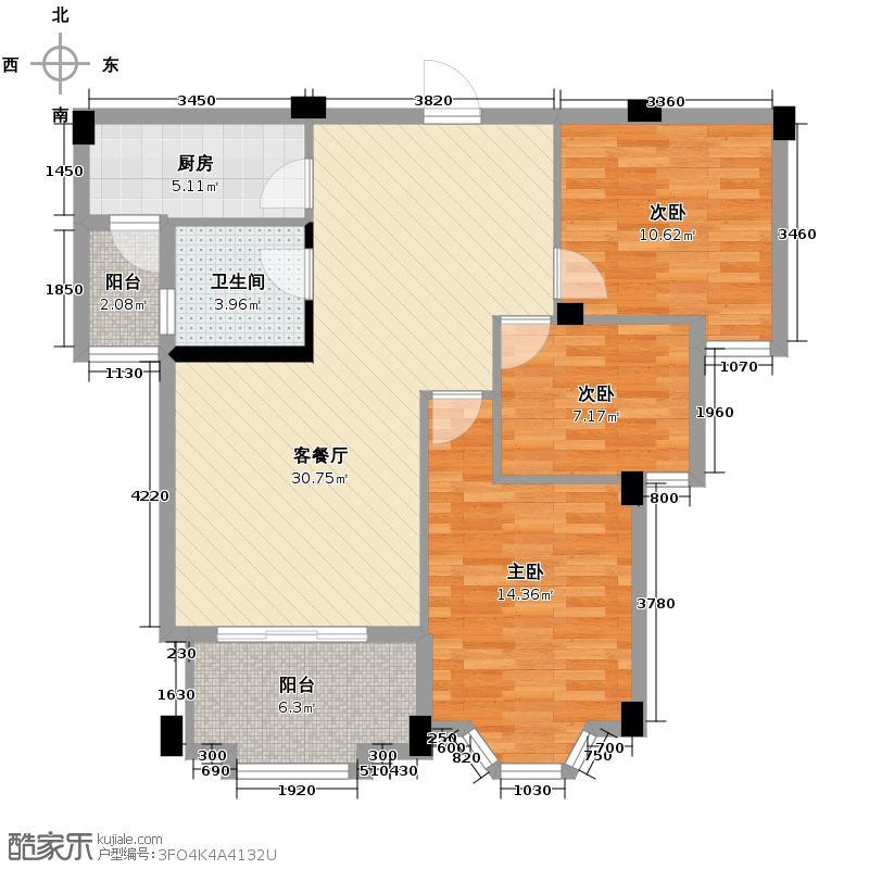 汇锦城96.79㎡东方名城户型3室1厅1卫1厨