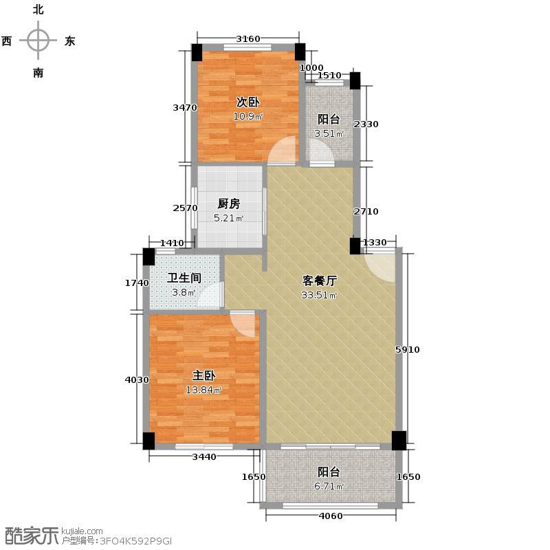 鹏基诺亚山林三期83.70㎡D1-1户型2室1厅1卫1厨